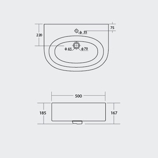 Porta Sanitary Ware - DP4910 Art Vanity Wash Basin
