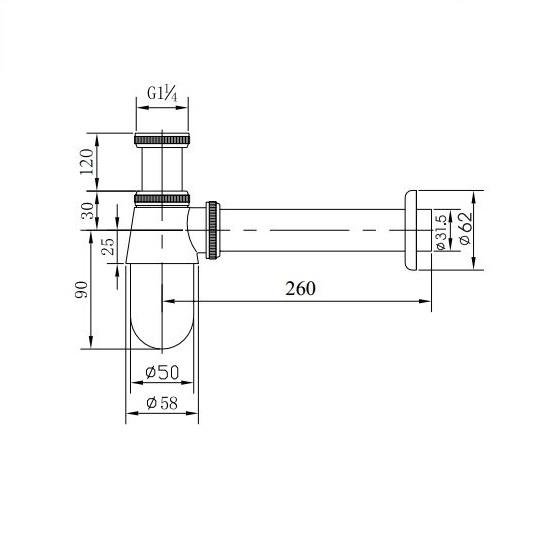 Porta Sanitary Ware - GD1038 Bottle Trap