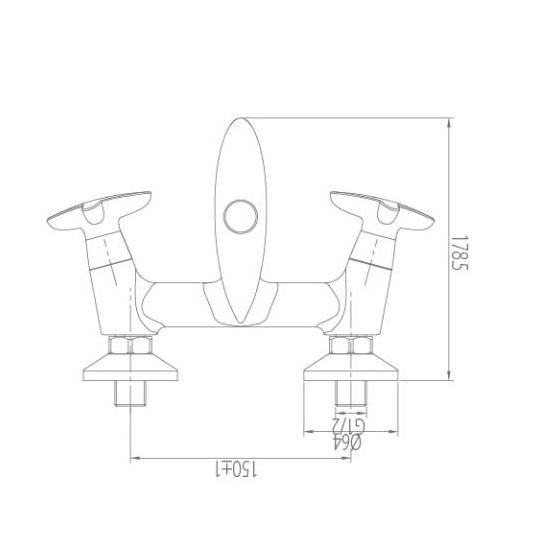 Porta Sanitary Ware - HDA3313Y Double Knob Bath Mixer