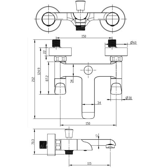 Porta Sanitary Ware - HDA3583Y Double Knob Bath Mixer