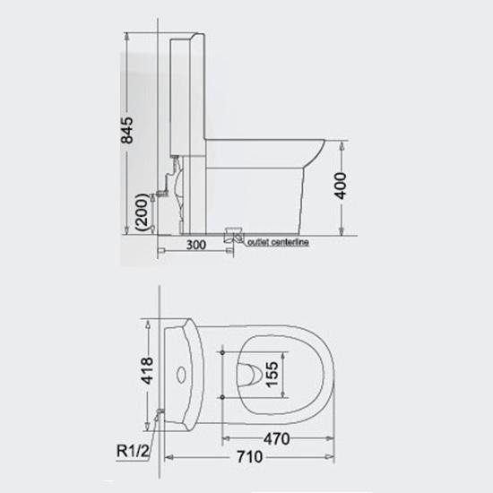 Porta Sanitary Ware - HD177A One Piece Toilet