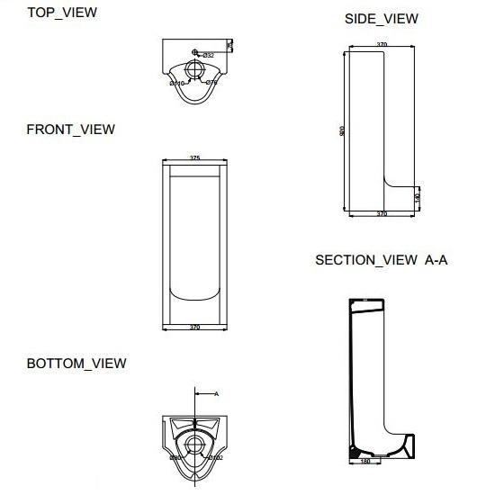 Porta Sanitary Ware - HD920 Pedestal Urinal