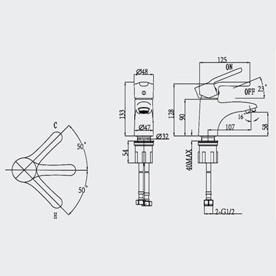Porta Sanitary Ware - HDA1771M Single Lever Basin Mixer