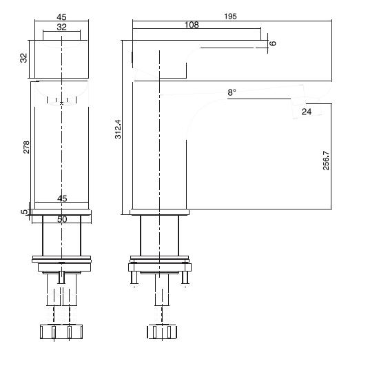Porta Sanitary Ware - HDA3271MG Single Lever Basin Mixer