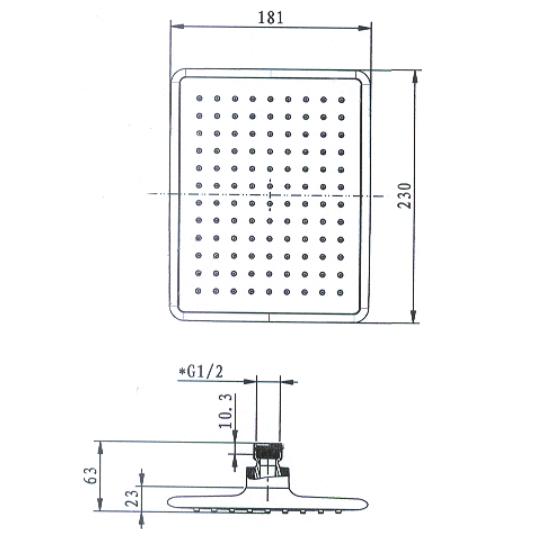 Porta Sanitary Ware - HDDP2178 Square Shower Head