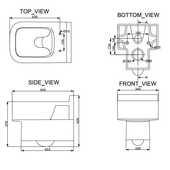 Porta Sanitary Ware - HD348WH Wall Hung Commode