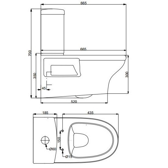 Porta Sanitary Ware - HD600WH Wall Hung Commode