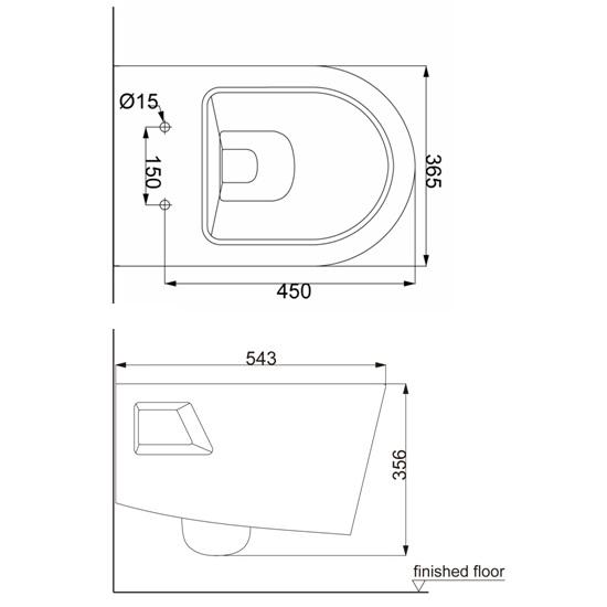 Porta Sanitary Ware - HD427WH Wall Hung Toilet