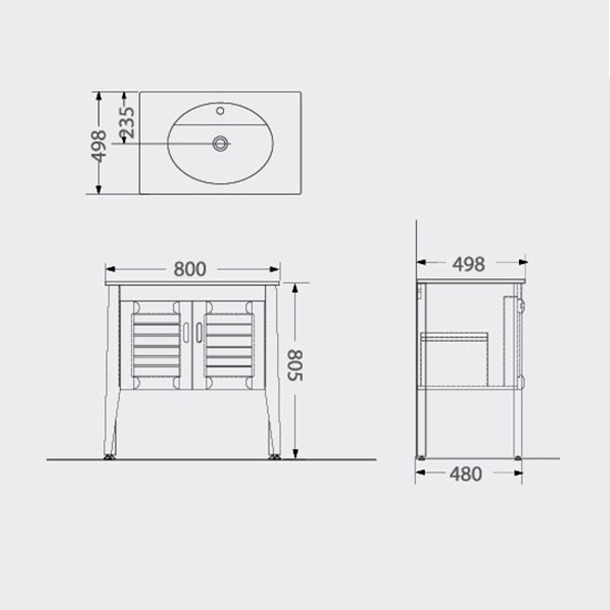Porta Sanitary Ware - HDFL031 Wooden Cabinet