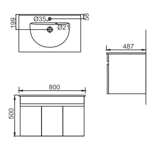 Porta Sanitary Ware - HDFL048 Wooden Cabinet