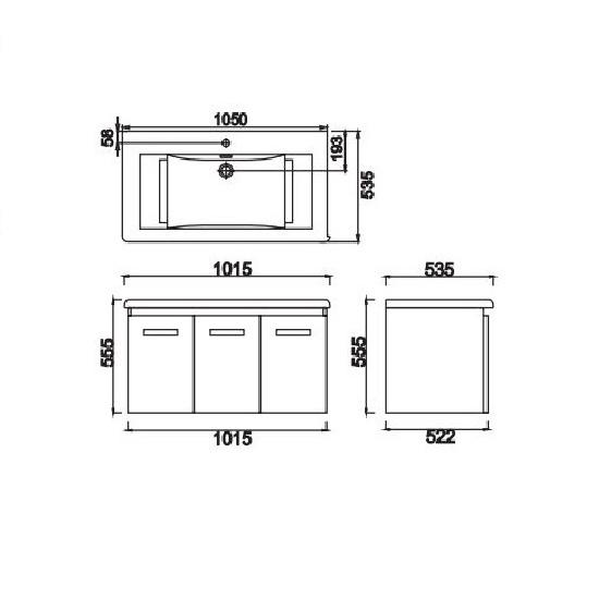 Porta Sanitary Ware - HDFL088 Wooden Cabinet